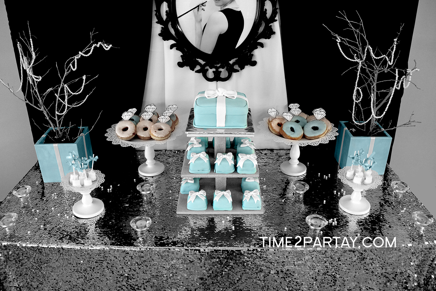 A tiffany co themed bridal shower for Wedding party table decorations