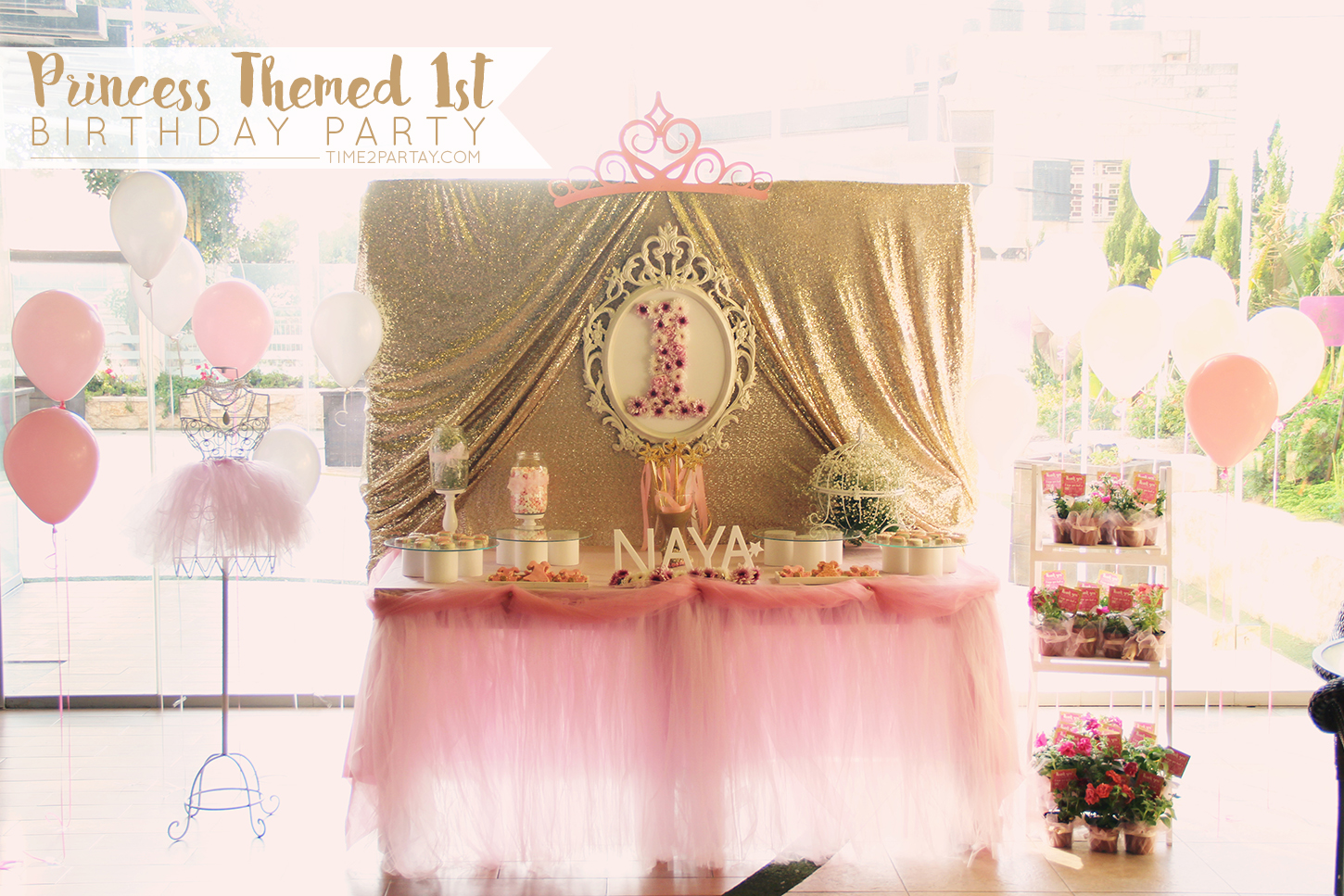 a pink gold princess themed birthday. Black Bedroom Furniture Sets. Home Design Ideas