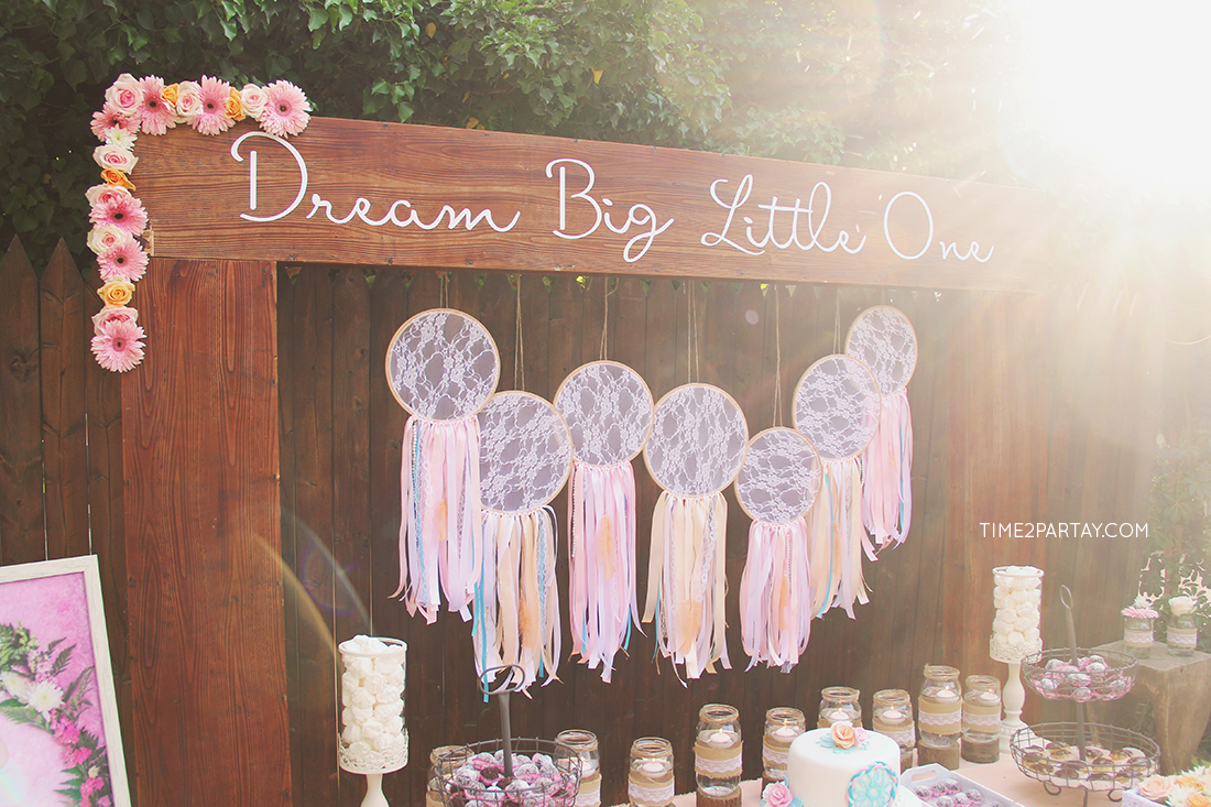A dream catcher themed welcome baby party for Baby welcome party decoration ideas