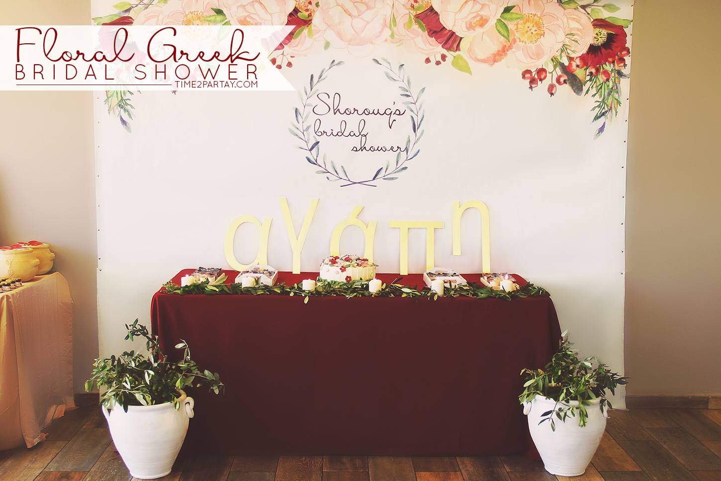 a floral greek themed bridal shower want